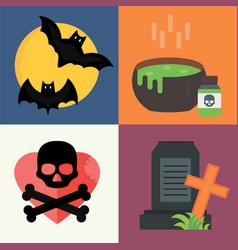 halloween icons set traditional trick or vector image
