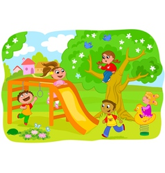 Happy kids playing in the countryside vector image vector image