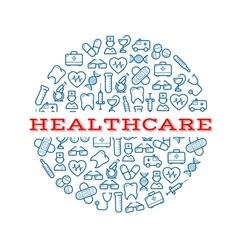 Healthcare blue symbols arranged into a pill vector image