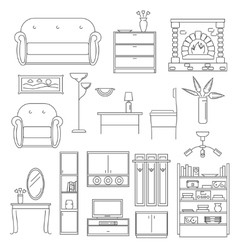 Interior Icons Line Set vector image vector image