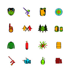 paintball game comics icons set cartoon vector image