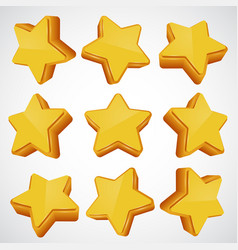 golden star different angles vector image vector image