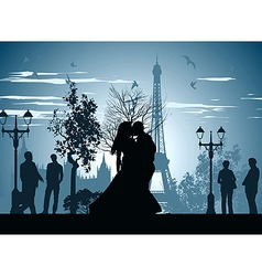 kissing on a Paris Street vector image