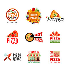 light italian food restaurant logotypes set vector image