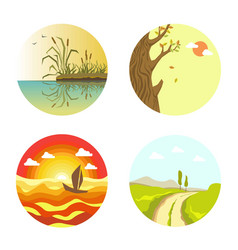 nature views on four circles isolated on white vector image