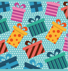 seamless pattern gift boxes wrapped ribbon bow vector image