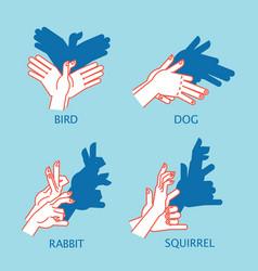 shadow theater hands gesture like flying bird vector image