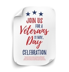 Veterans Day party poster vector image