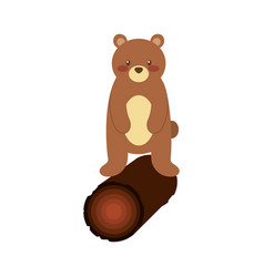cute forest bear and wooden natural wildlife vector image