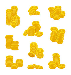 different stacks of golden coins vector image vector image
