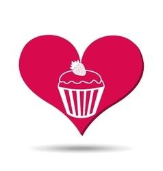 heart red cartoon cupcake strawberry icon design vector image
