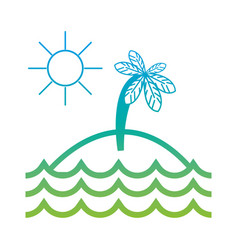 silhouette island with palm tree with sun and vector image vector image