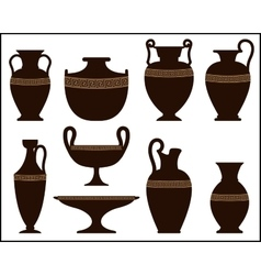 Silhouettes of ancient vases with ornament vector image vector image