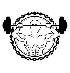 sticker border with silhouette muscle man lifting vector image vector image