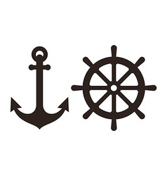 Anchor and Rudder sign vector image