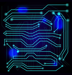 Blue background with high tech circuit board vector