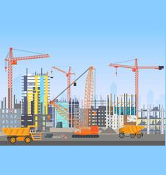 building city skyline under construction vector image