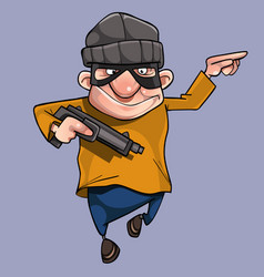 cartoon cheerful man in bandit mask with gun vector image