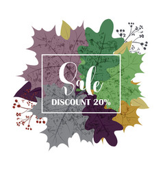 Hello autumn sale text poster of september leaf vector