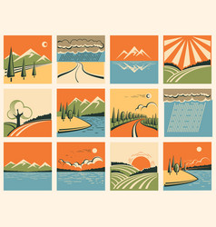 Nature landscape icons set of symbols vector image vector image