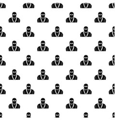 Ninja in black mask pattern vector