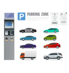 set of parking payment machine parking receipt vector image vector image