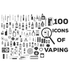 100 icons of vaping vector image
