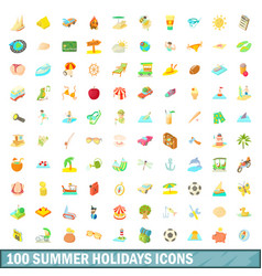 100 summer holidays icons set cartoon style vector
