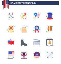 16 flat signs for usa independence day adornment vector