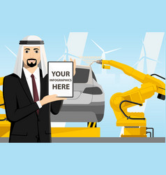 Arab manager with a digital tablet vector