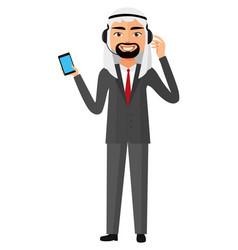 Arab yemen operator man with headset customer vector