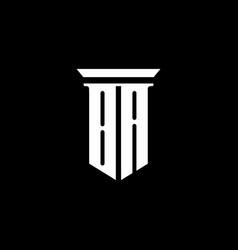ba monogram logo with emblem style isolated vector image