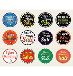 Banner label badge Black Friday Cyber Monday vector