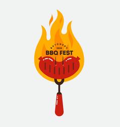 barbecue fest logo grilled sausages bbq fork vector image