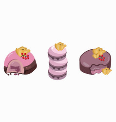 Berry mousse macarons and delicious cake sweet vector