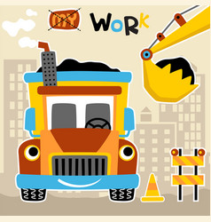 Big truck cartoon on work zone vector