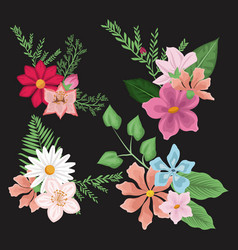 black background with set decorative bouquet vector image