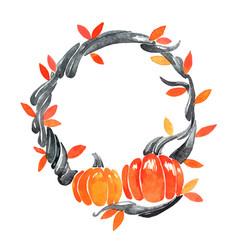 Black ivy with pumpkin wreath watercolor vector