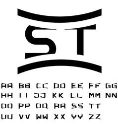 Black simple alphabet initials vector