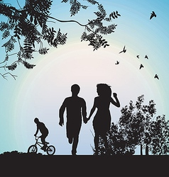 Boy and girl running through park holding vector