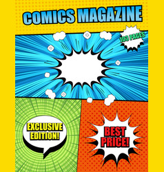 Bright comics magazine cover template vector
