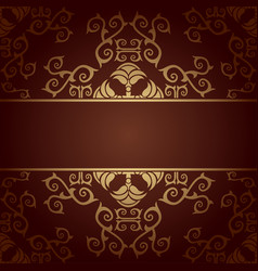 Brown background baroque with flowers vector