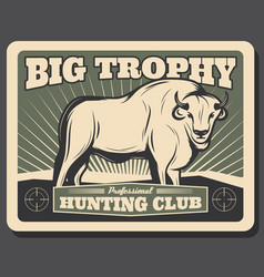 buffalo retro poster for hunting club vector image
