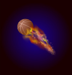burning basketball orange ball icon vector image