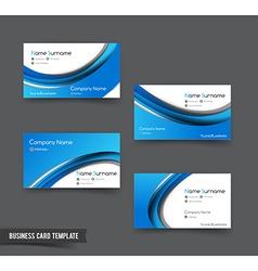 Business Card template set 50 blue curve element vector image