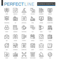 Business essential thin line web icons set vector