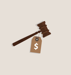 Buy justice law price tag dollar sign on hammer vector