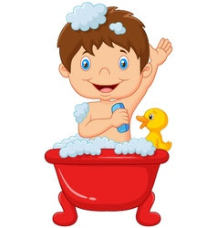 Cartoon child taking a bath vector image