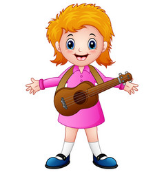 Cartoon girl with a guitar vector