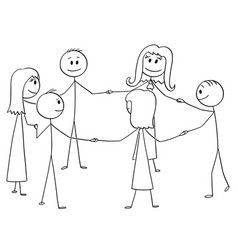 Cartoon of group of six people standing in circle vector